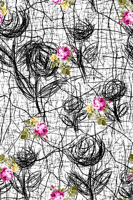 乱线玫瑰图案