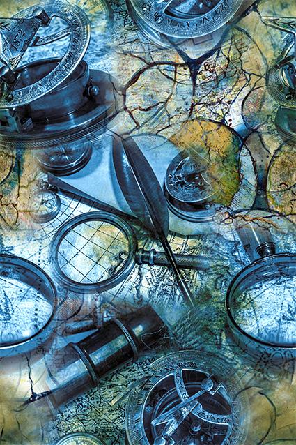 科技几何放大镜图案