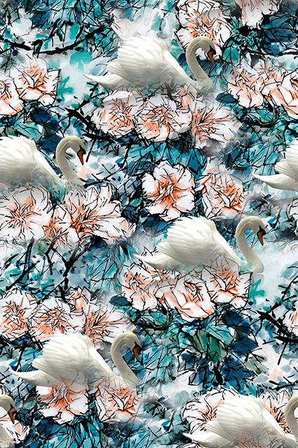 墨绿大白鹅水彩花型