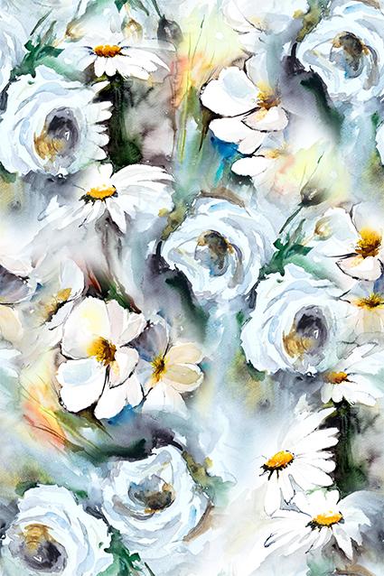 抽象水彩手绘花朵