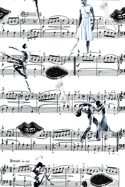 黑白音符舞伴人物