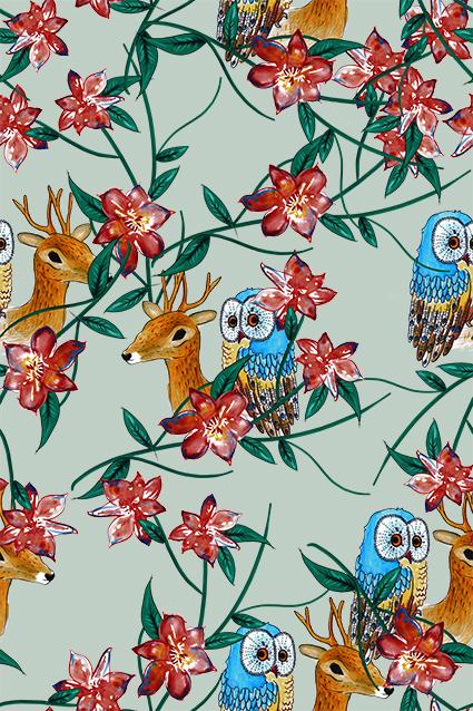猫头鹰动物流行花卉