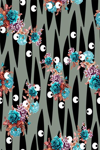 矢量眼球色块装饰花朵