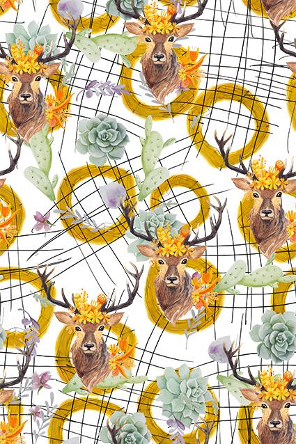 几何线条花卉迷鹿
