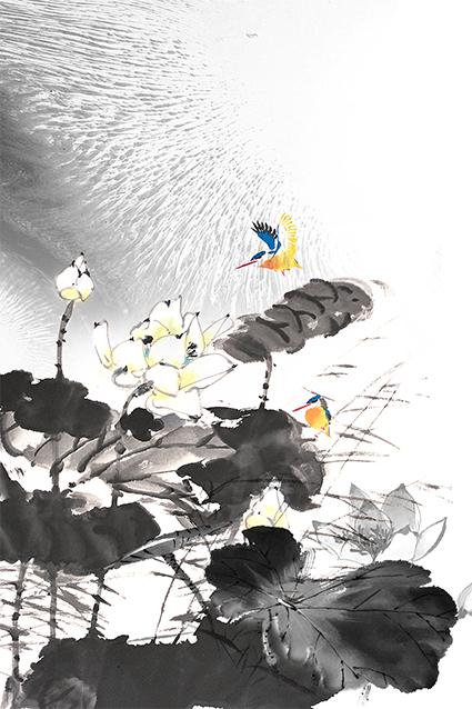 水墨荷叶植物荷花