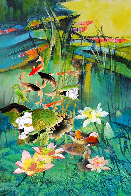 颜料水彩荷塘鲤鱼