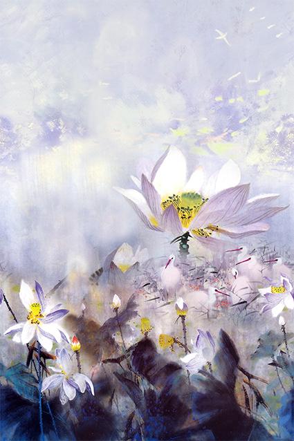 风景盛开手绘莲花