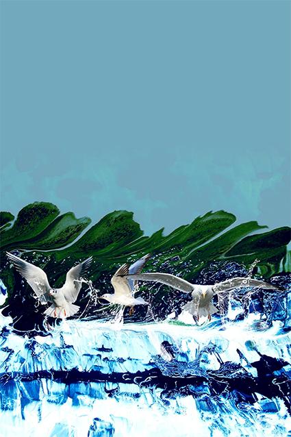 手绘真彩波浪海鸥