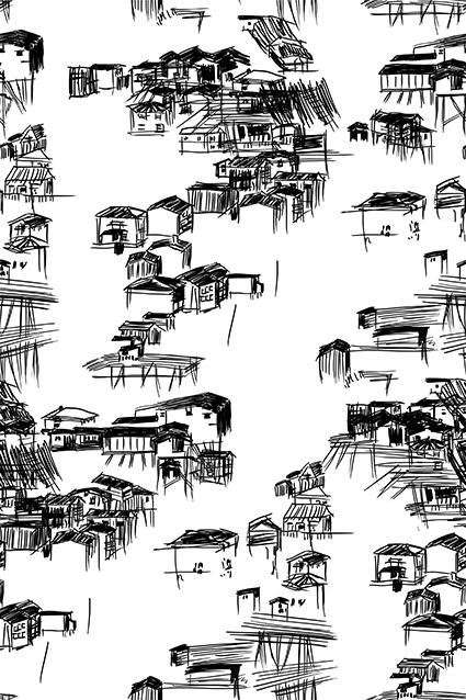 素描黑白线条房屋