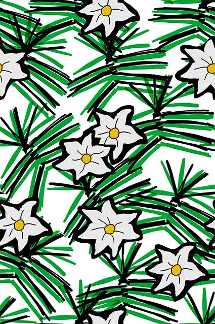 墨绿线条元素花
