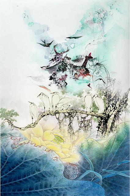 渲染荷叶纹理花卉