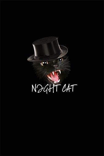 T恤绅士帽子黑色夜猫