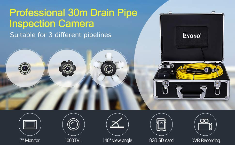Eyoyo Pipe Pipeline Inspection Camera 30M/98ft Drain Sewer Industrial Endoscope Video Plumbing System with 7 Inch LCD Monitor 1000TVL DVR Recorder Snake Cam (Include 8GB SD Card)
