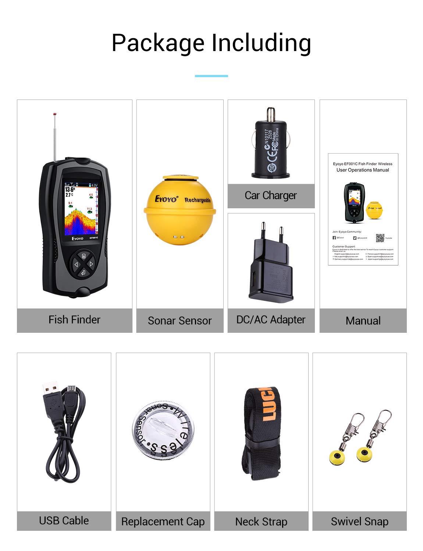 Eyoyo Portable Fish Finder 147 Feet(45M) Water Depth Sonar Sensor Transducer, 2.4