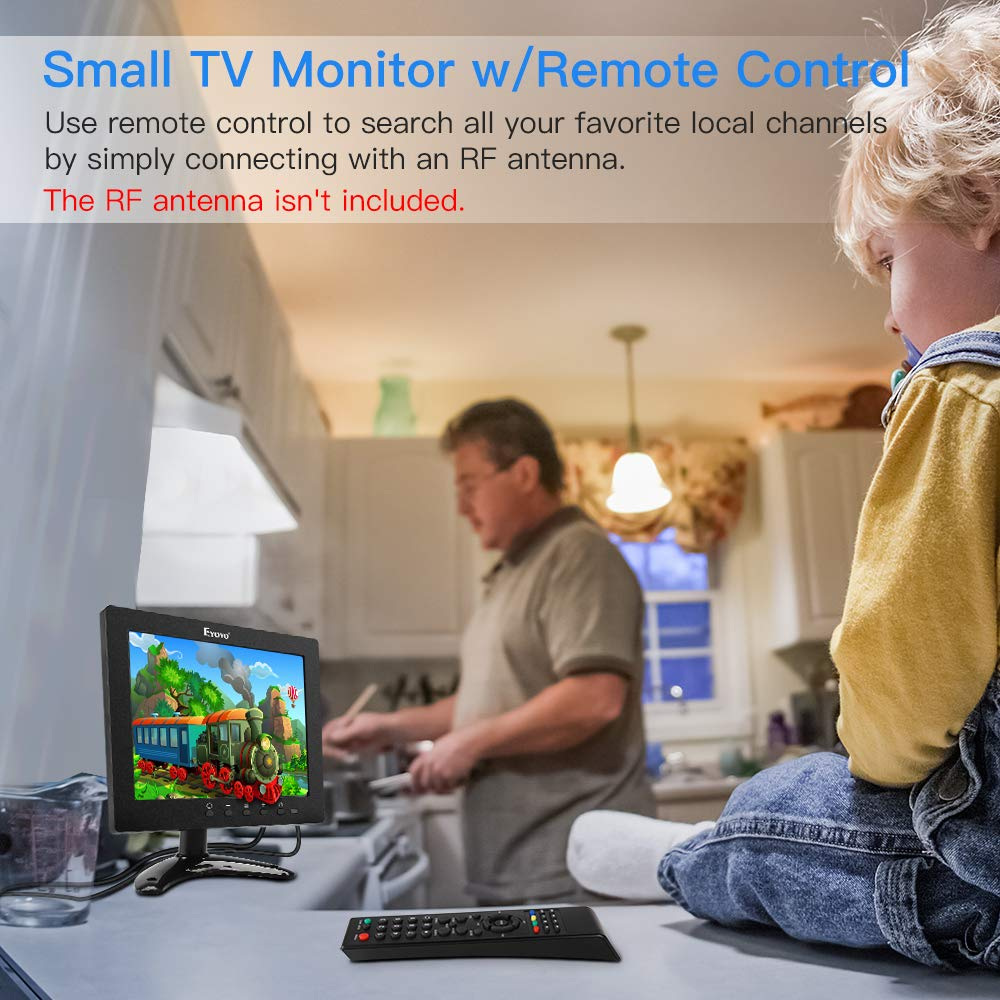 Eyoyo 8 inch HDMI Small TV Monitor, 1024x768 LCD IPS Screen Kitchen TV Support TV/HDMI/VGA/USB/AV Input w/Remote Control Built-in Loudspeakers Compatible with DVD PC CCTV Security System Raspberry Pi