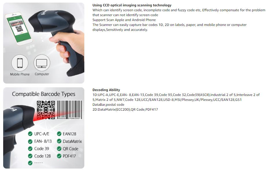 QR Barcode Scanner Eyoyo Wired Handheld 1D 2D USB CCD Barcode Reader For Mobile Payment Computer Screen Scan