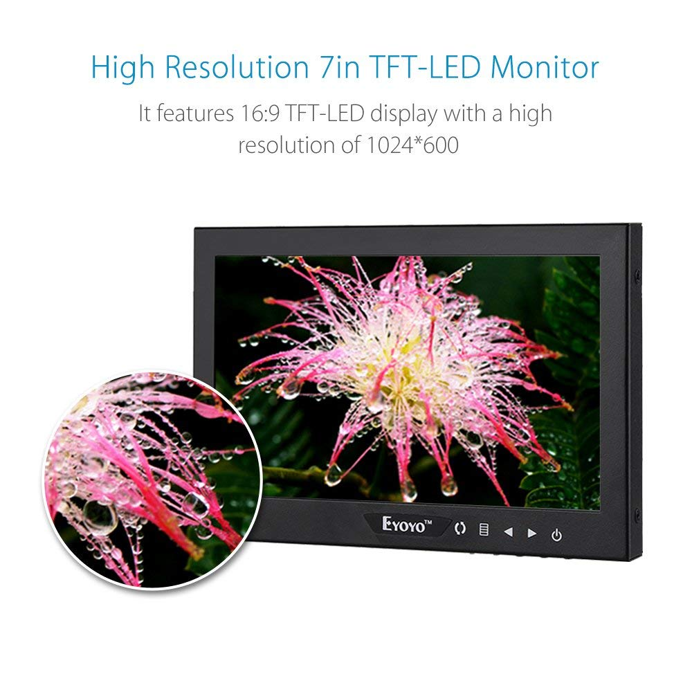 Eyoyo 7 Inch Mini Small TFT LCD Full HD Monitor Portable Display Screen 1024x600 with HDMI BNC VGA AV Input