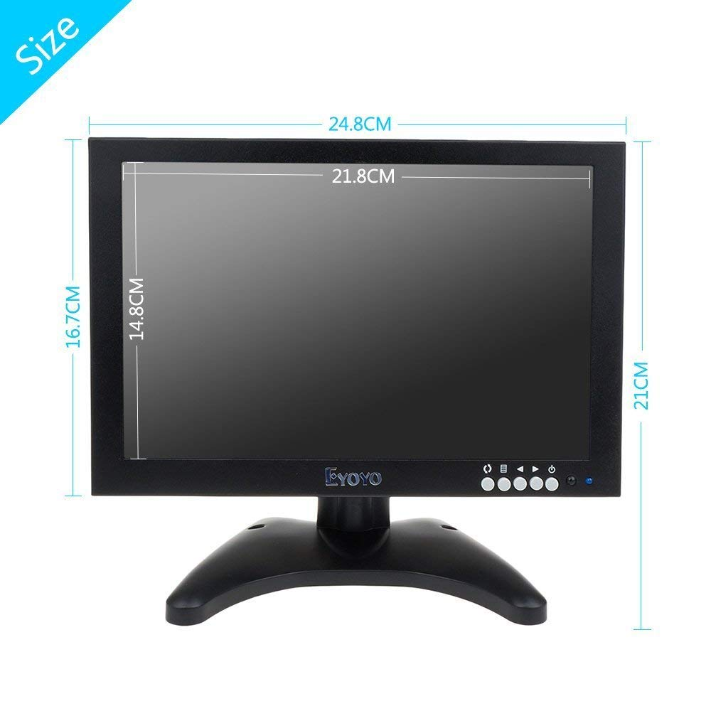 Eyoyo 10 Inch IPS Hdmi Monitor TFT LCD Display 1280x800 Resolution Portable Small HD Monitor with HDMI BNC VGA AV USB Input and Built-in Speaker for FPV Video Display Screen DVD PC Laptop