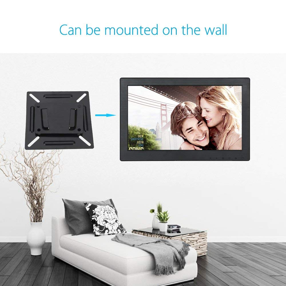 Eyoyo 12 inch Monitor 1920x1080 IPS LCD Screen Support VGA HDMI BNC AV USB Input Built-in Dual Loudspeakers Metal Housing for PC DVD Home Security System