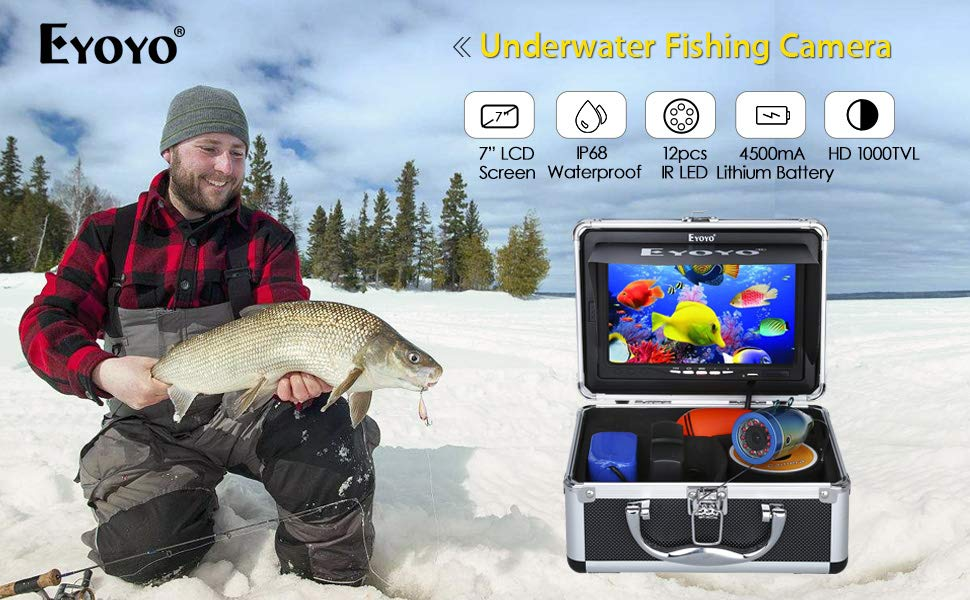 Eyoyo Portable 9 inch LCD Monitor Fish Finder HD 1000TVL Fishing Camera Waterproof Underwater DVR Video Cam Infrared Lights 30m