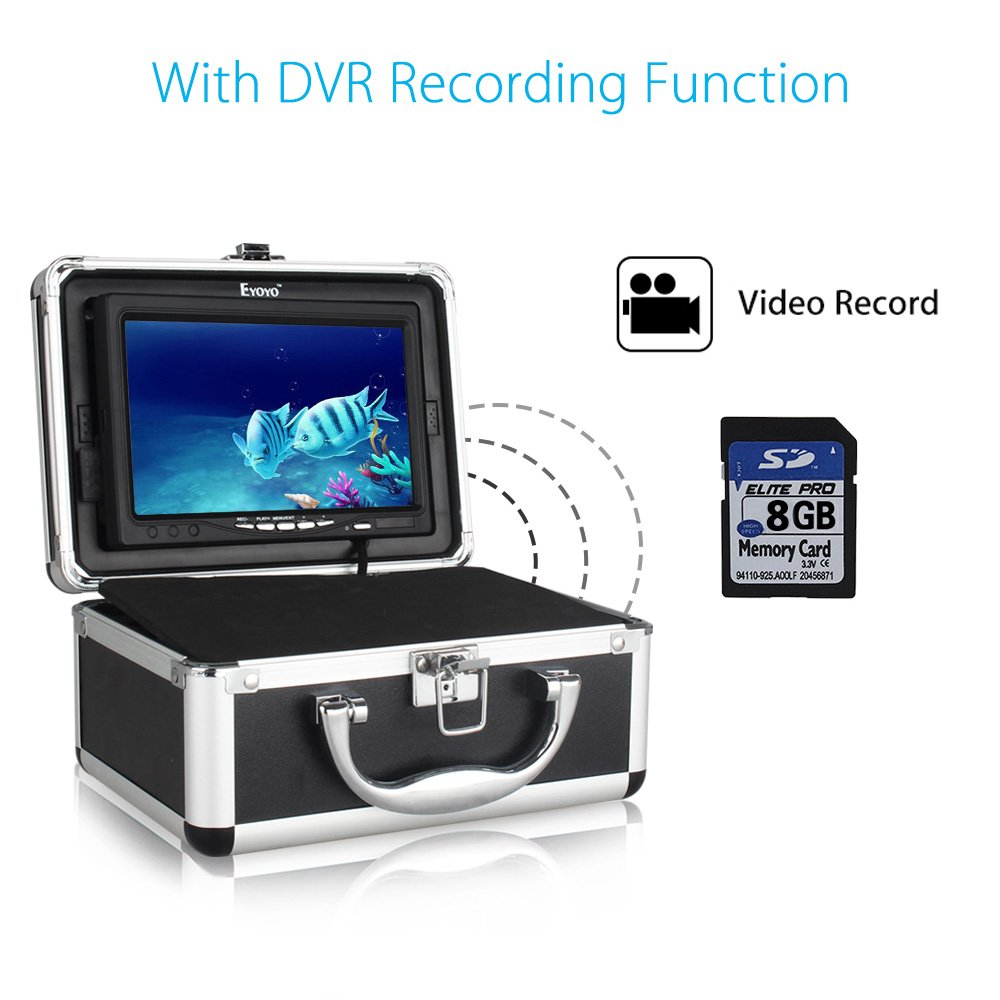 Eyoyo Portable Video DVR Fish Finder 7 inch LCD Monitor+HD 1000TVL Camera+30m Cable+12pcs IR Infrared LEDs+8GB SD Card