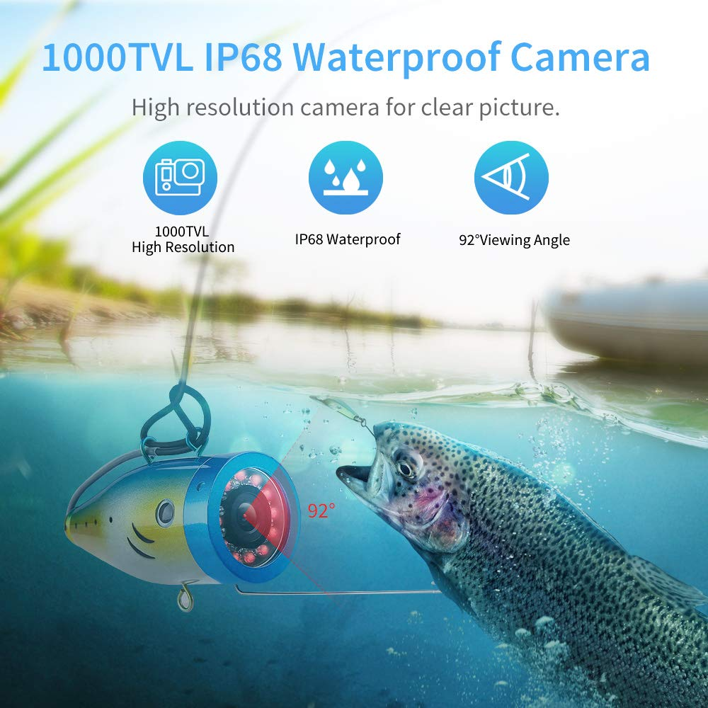 Eyoyo Underwater Fishing Camera  24 Infrared & White LEDS+7 Inch LCD Monitor+HD 1000 TVL Waterproof Camera+30m(98ft) Cable