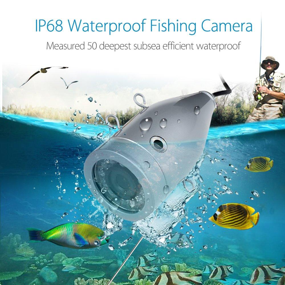 Eyoyo Portable 9 inch LCD Monitor Fish Finder HD 1000TVL Fishing Camera Waterproof Underwater DVR Video Cam (9 inch Infrared Lights(30m))