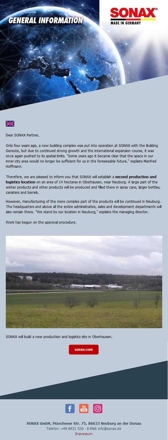 SONAX德国总部再次扩建生产基地
