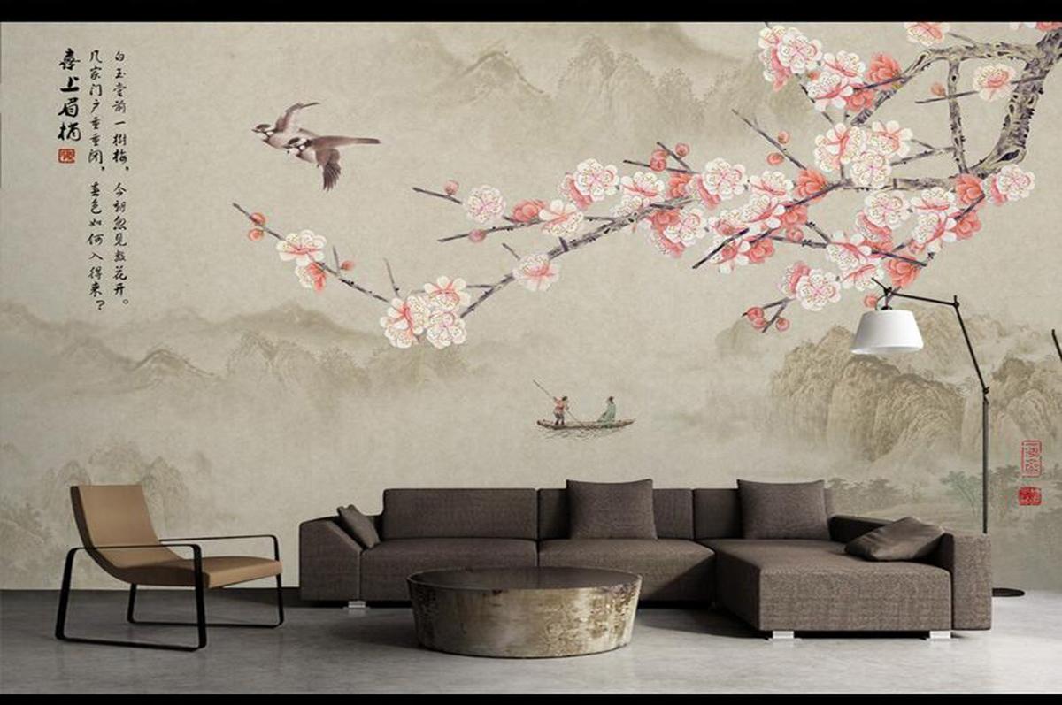 手绘墙纸壁画216456554