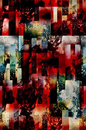 切片红色图案花型