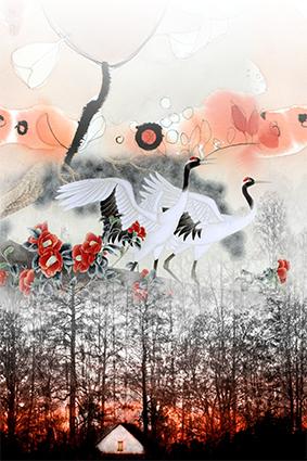 日落树丛仙鹤归巢、