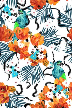 矢量手机橘色花朵小鸟