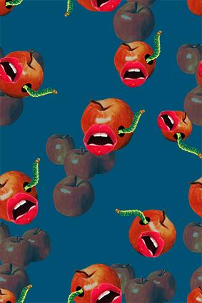 个性嘴唇毛毛虫苹果