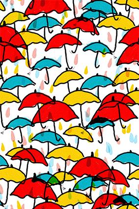 卡通描边雨伞颜料