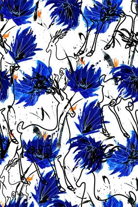素描迷鹿蓝色花朵