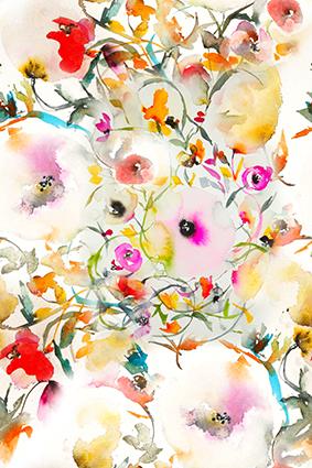 渲染水彩绚丽花卉