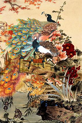 豹子孔雀怀旧图绘