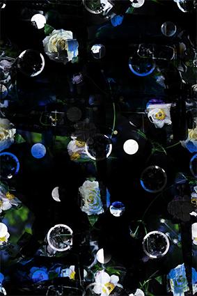 黑色手绘装饰女装花型、