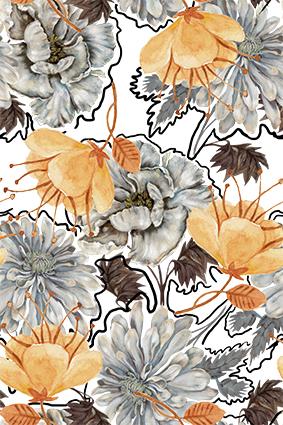 描边线条手绘花