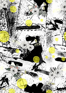 黑色磨砂溶解色彩图案