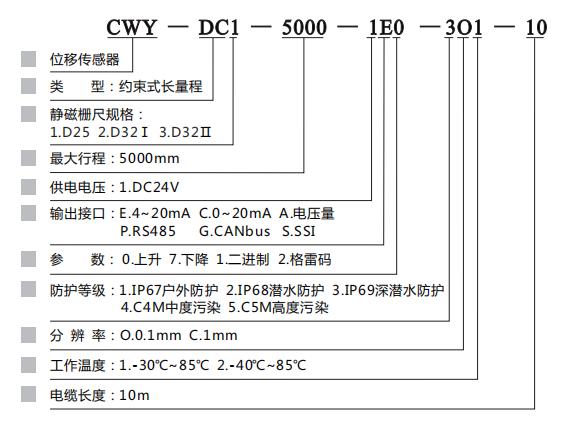 CWY-DC 约束式长量程绝对williamhill中文传感器