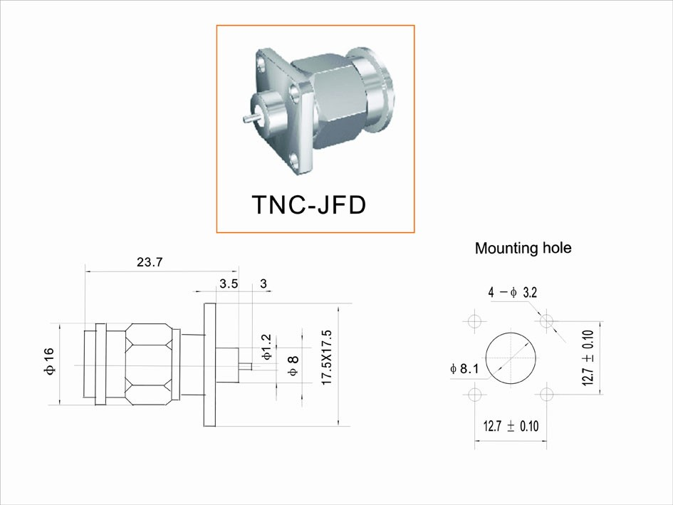 TNC Male connector with 4 holes flange for PCB Mounting