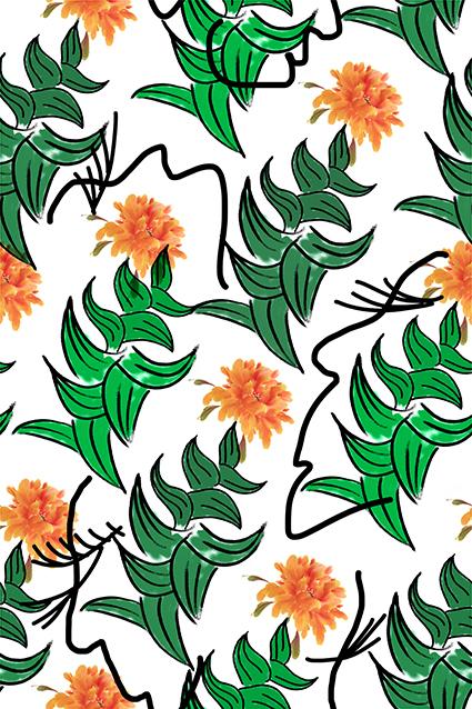 绿色素描花叶植物