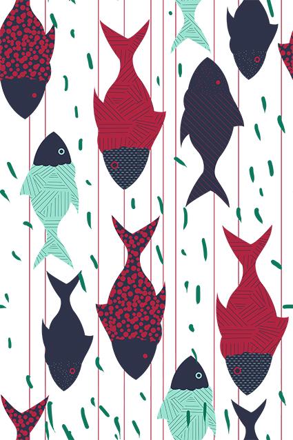 矢量平面线条鱼类