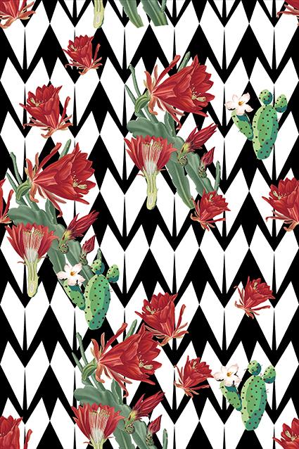 几何棱角油彩手绘花