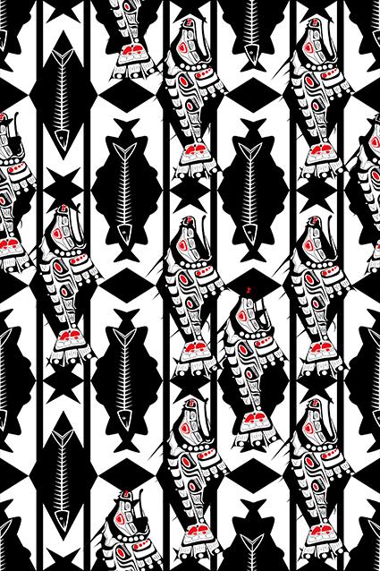 卡通机械鱼矢量几何图