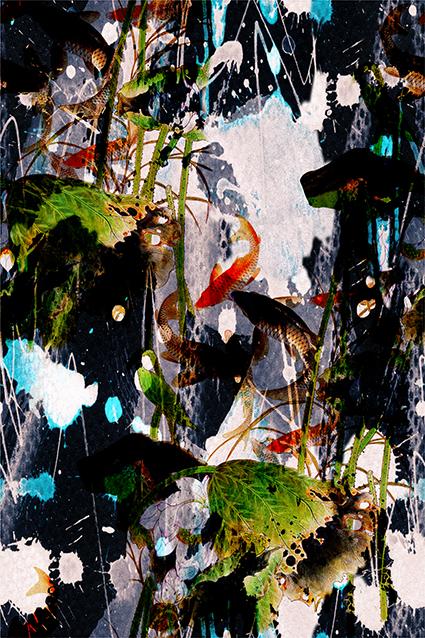抽象水彩鲤鱼河池