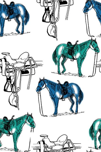 手绘素描色彩骏马