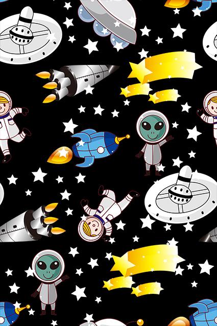 黑底卡通太空外星人