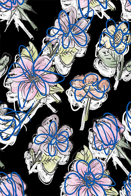 线条水彩植物花卉